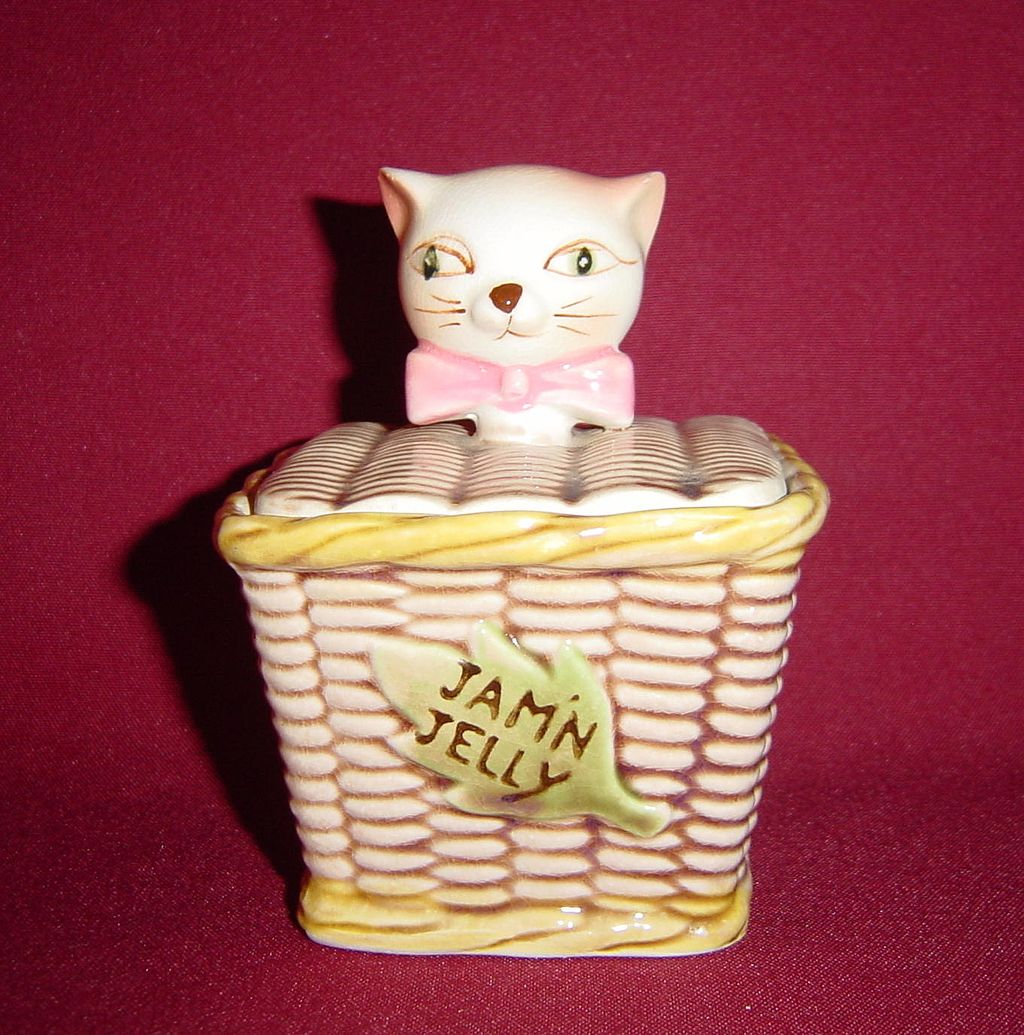 Tilso Cat in a Basket Jam 'N Jelly Condiment Server
