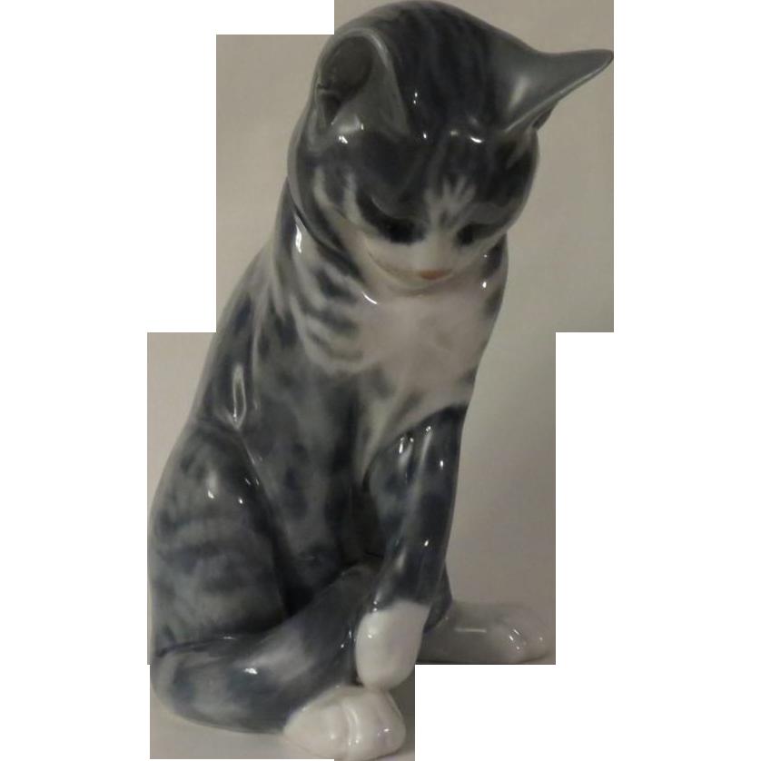 Royal Copenhagen Grey Tabby Cat Model 340