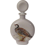 Milk Glass Decanter with Chukar Partridge by Arthur Singer