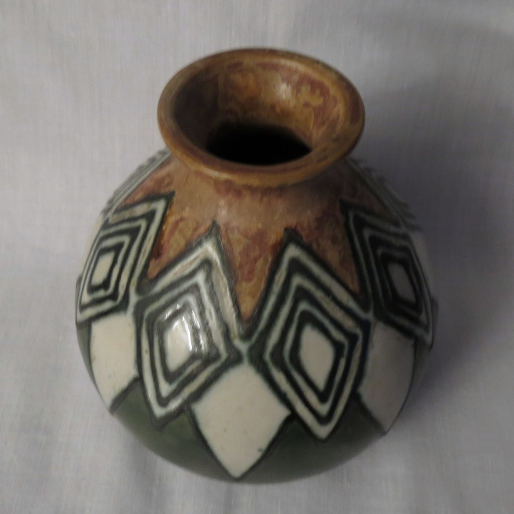 quimper odetta art deco stoneware pottery vase from