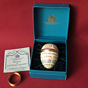 Bilston and Battersea Enamel Egg Trinket Box 'Do think of me'