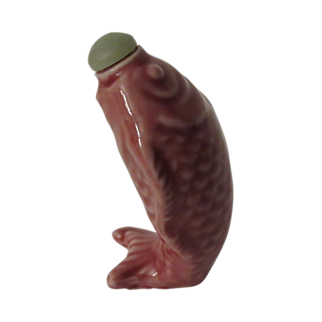 Pink Leaping Fish Shaped Chinese Snuff Bottle