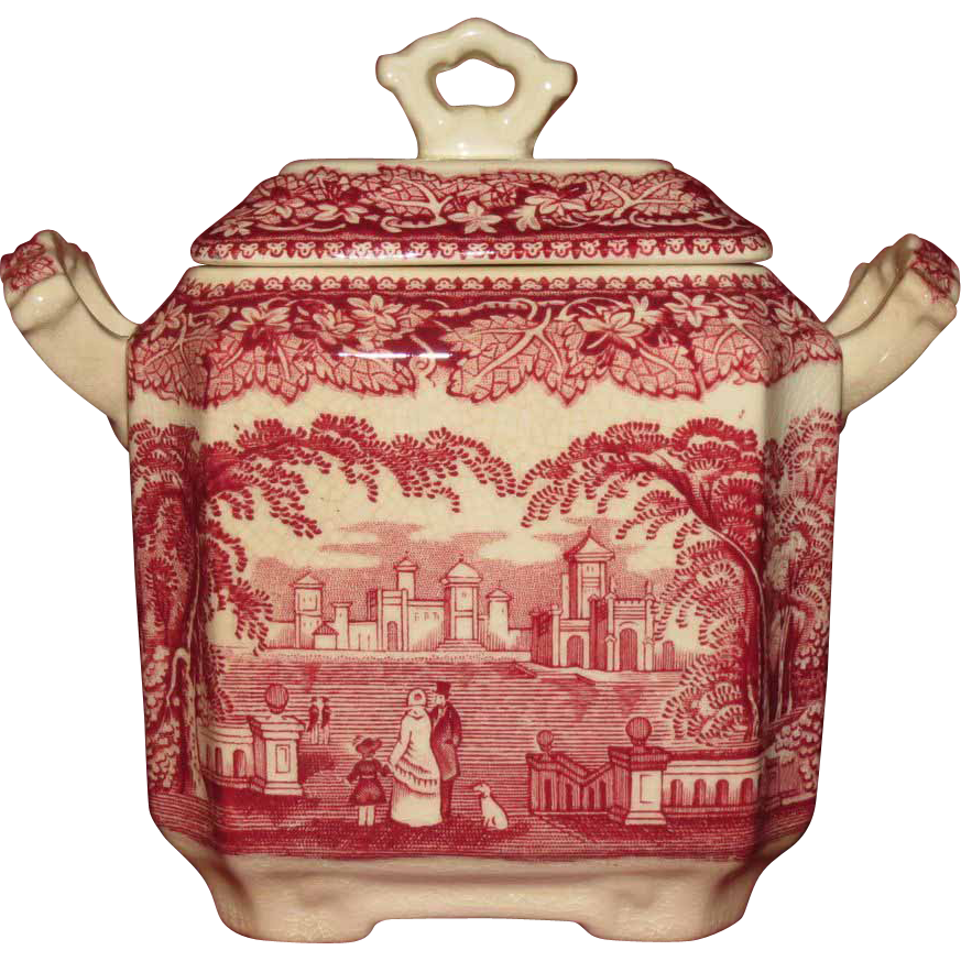 Mason's Pink (Red) Vista Square Sugar Bowl