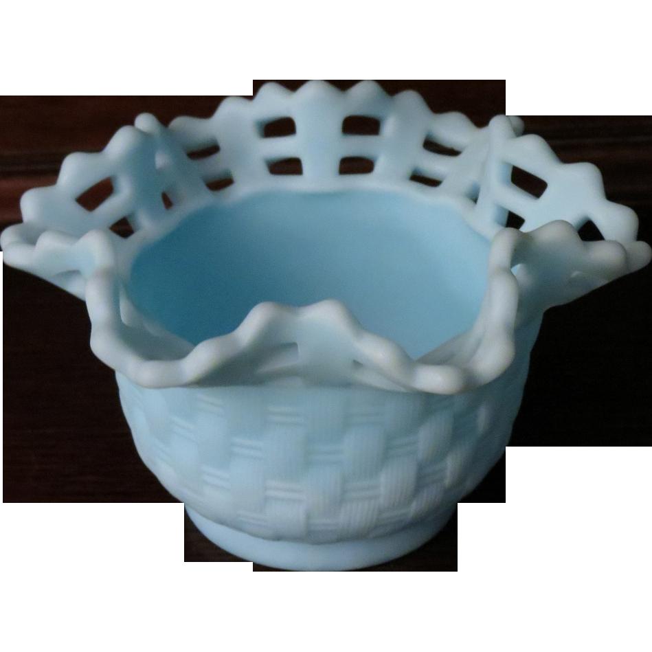 Fenton Blue Satin Glass Basket Weave Bowl