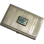 Pretty Presto Silverplate and Enamel Small Cigarette Case