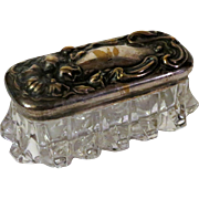 Art Nouveau Silverplate Repousse and Glass Dresser Box