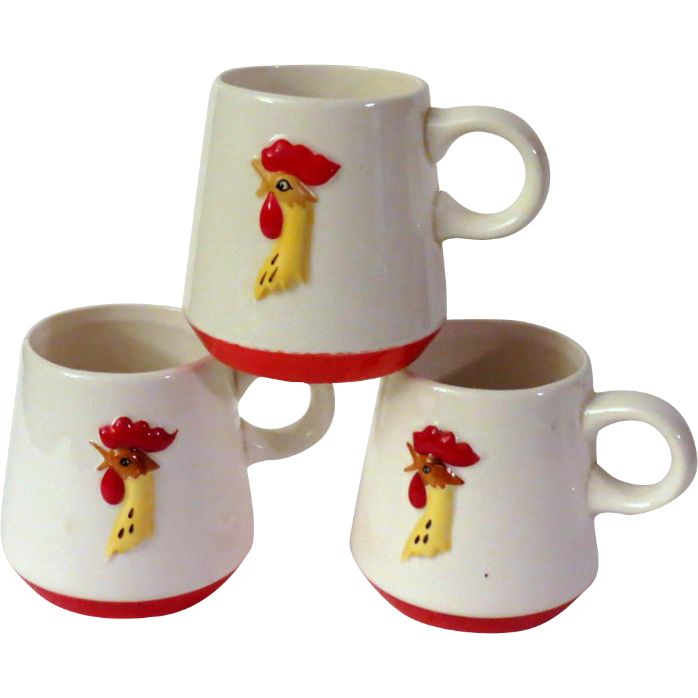 Holt Howard Red Rooster Coq Rouge Coffee Cups