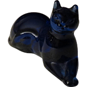 Franklin Mint Curio Cabinet Cobalt Blue Cat