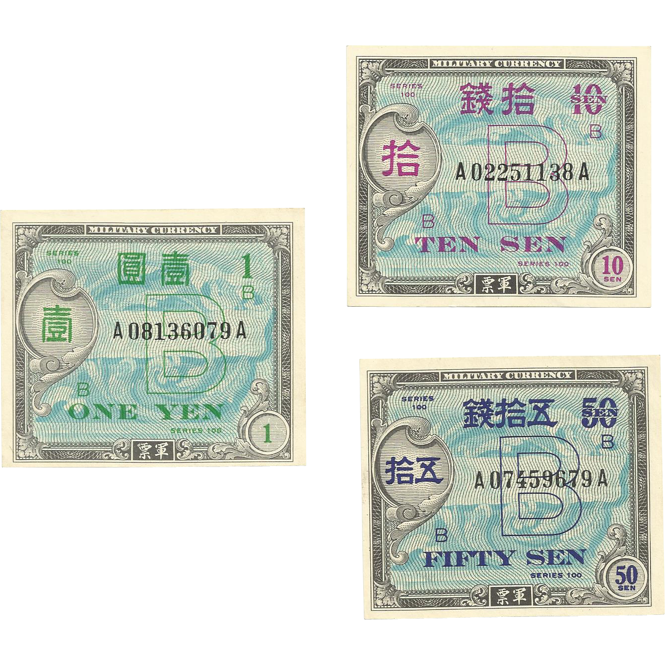 Military Currency from 1945 - One Yen, 10 Sen and Fifty Sen