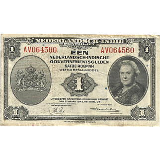 WWII Bank Note One Gulden from the Netherlands