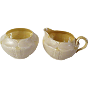 Belleek New Shell Creamer and Open Sugar in Yellow Lustre