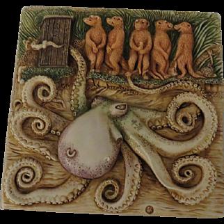 Harmony Kingdom Noah's Park Tilt-A-Whirl Picturesque Tile Figurine with Octopus