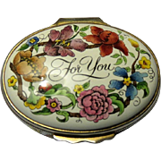Halcyon Days Enamel Floral Box For You