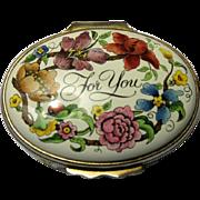 Halcyon Days Enamel Floral Box For You