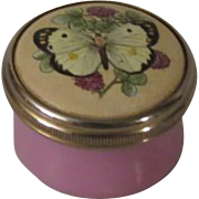 Halcyon Days Mini Enamel Box with Butterfly on Clover