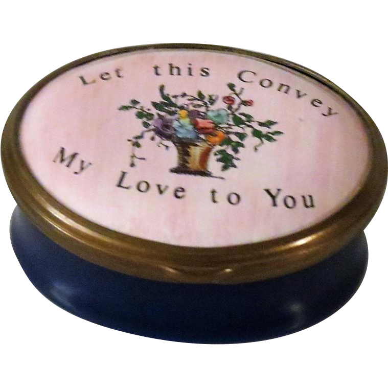 Halcyon Days Bilston & Battersea Enamel Box Let This Convey My Love For You