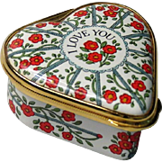 Halcyon Days Enamel Heart Box I Love You