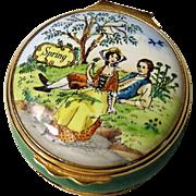 Halcyon Days Enamel Box Spring from a Joyce Hubbard Painting