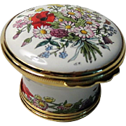 Halcyon Days Faust Opera Flowers Basket Shaped Enamel Box