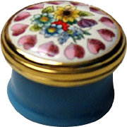 Halcyon Days Mini Enamel Box with Hearts and Flowers