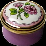 Halcyon Days Mini Enamel Box with Lavender Pink Roses