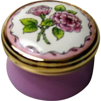 Halcyon Days Mini Enamel Box with Lavender Pink Roses