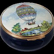 Halcyon Days Bilston & Battersea Montgolfiere Balloon Large Enamel Box
