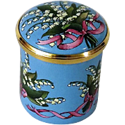 Halcyon Days Lily of the Valley Tall Enamel Box