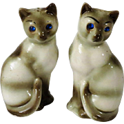 Vintage Siamese Cats with Jeweled Eyes Salt and Pepper Shakers