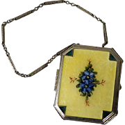 Beautiful Art Deco Floral Enamel Compact with Wrist Chain