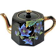Gorgeous Celia Gibsons Black Hand Painted Floral Teapot from England c 1924-25