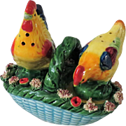 Rooster and Chicken on a Basket Salt and Pepper Shakers from Japan Mid-Century