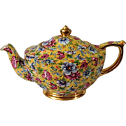Gorgeous James Sadler Sophie Chintz Yellow Teapot Made in England