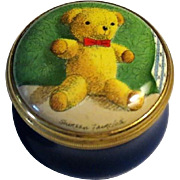Halcyon Days Teddy Bear Small Enamel Box  by Artist Shireen Faircloth