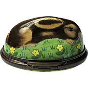Halcyon Days Wild Rabbit Bonbonniere Enamel Box