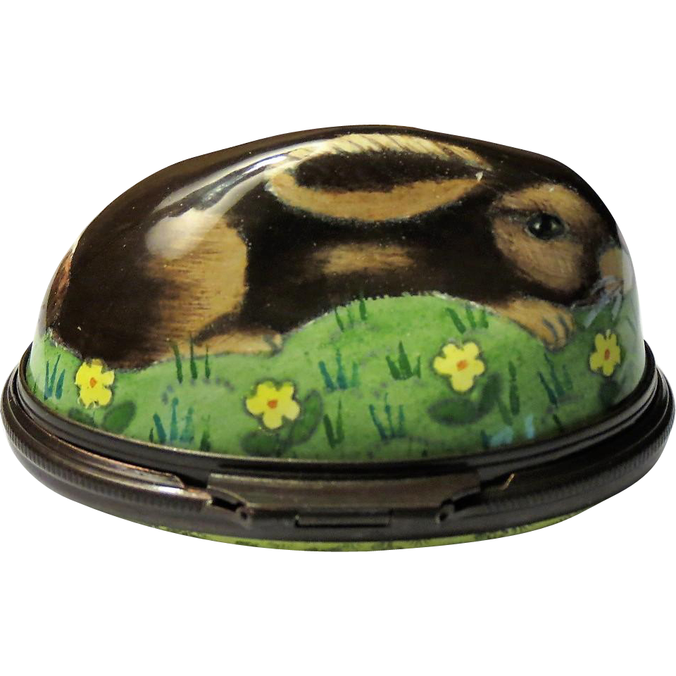 halcyon days wild rabbit bonbonniere enamel box from alleycatlane on ruby lane. Black Bedroom Furniture Sets. Home Design Ideas