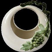 Hull Tokay Moon Basket Vase with Green Grapes and Twig Handle