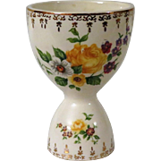 Vintage Double Egg Cup with Yellow Roses, Flowers and Gilt Trim