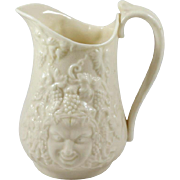 Irish Belleek Porcelain Bacchus Mask Cream Pitcher