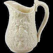 Irish Belleek Porcelain Bacchus Mask Cream Pitcher