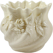 Irish Belleek Porcelain Shell Vase with Applied Roses and Shamrocks