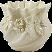 Irish Belleek Porcelain Shell Vase with Applied Roses and Shamrocks
