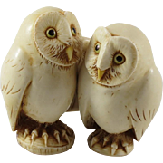Harmony Kingdom Franklin and Eleanor Two By Two Owl Figurines by Adam Binder