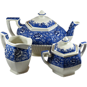 Sadler Afternoon Tea Collection Teapot Sugar and Creamer Set in Blue Chintz Pattern