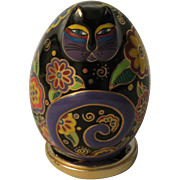 Laurel Burch Flowering Feline Egg Shaped Cat Figurine by Franklin Mint with Stand.