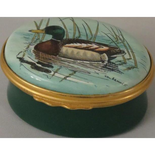 Halcyon Days Oval Enamel Box  with Val Bennett's Mallard Duck