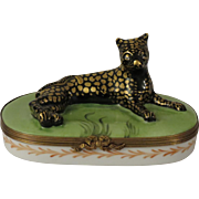 Limoges Hand Painted Leopard or Wild Cat Porcelain Box by Chamart