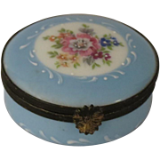 Limoges Castel Hand Painted Blue Floral Porcelain Box
