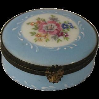 Limoges Castel Hand Painted Blue Floral Porcelain Box