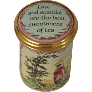 Mini Halcyon Days Love and Scandal are the Best Sweeteners of Tea Tall Enamel Box
